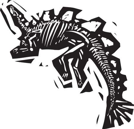 saurian: Woodcut style image of a fossil of a armored Stegosaurus with spikes Illustration