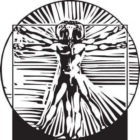 depiction: woodcut style depiction based on Leonardo Da Vinci