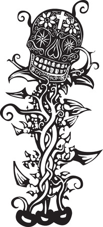 hispanics: Woodcut style image of a Mexican day of the dead skull tangled in vines Illustration