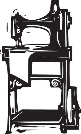 treadle: Woodcut style image of a vintage singer treadle sewing machine Illustration
