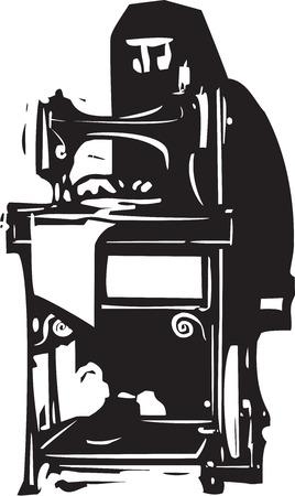 burka: Xilografia stile immagine di una donna musulmana conservatrice in un hijab o burka lavora a una macchina da cucire Vettoriali