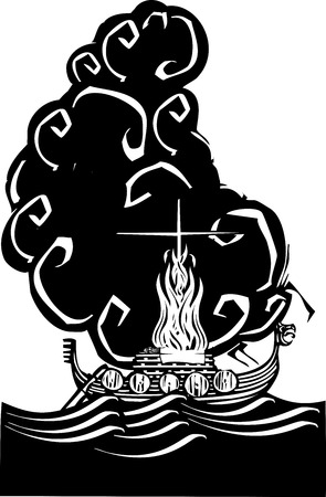 Woodcut style image of a Viking Chief being burned on a longboat. Vettoriali
