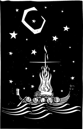 Woodcut style image of a Viking Chief being burned on a longboat at night.