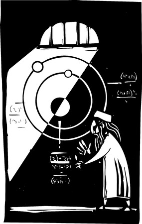 Woodcut style image of a an Islamic Astronomer working out math equations