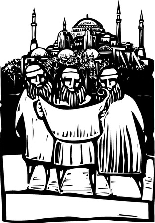 byzantine: Woodcut style three Muslim architects look over building plans of a mosque.