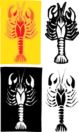 Woodcut style image of lobster or crayfish in different layouts.