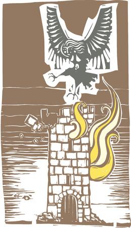Woodcut style image of Greek mythological harpy flying over a burning tower Illustration