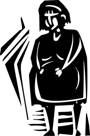 incest: Woodcut style expressionist image of a pregnant woman