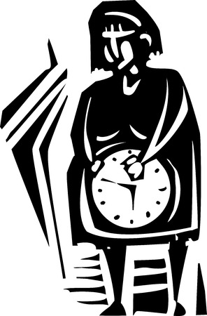 incest: Woodcut style expressionist image of a pregnant woman with a clock in her belly. Illustration