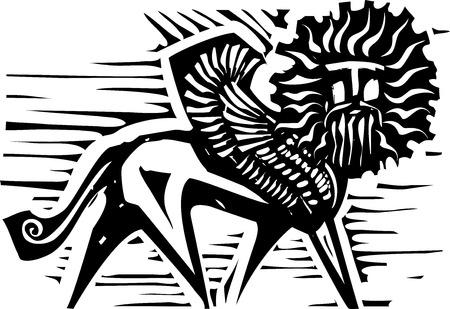 Woodcut style image of mythological winged Sphinx Vector