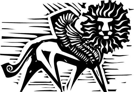 winged lion: Woodcut style image of Persian mythological winged lion
