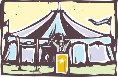 expressionist: Woodcut expressionist style image of a carnival circus tent.