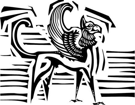 Woodcut style image of mythological winged griffin Vector