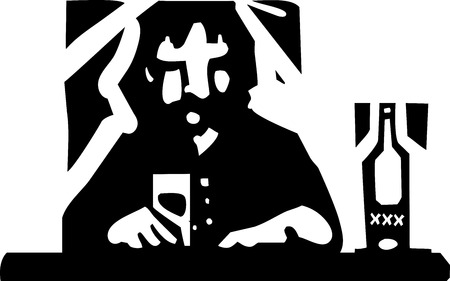 substances: Woodcut style image a man drinking alone at a bar