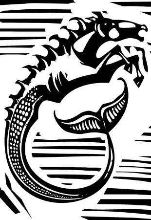 kelpie: Woodcut style image of Greek mythological seahorse the hippocampus.