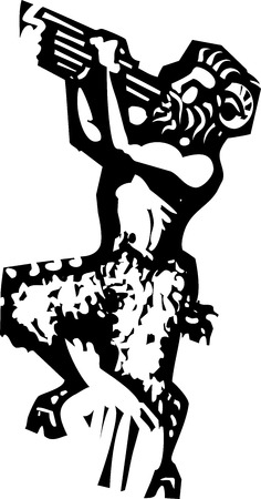 Woodcut style image of a mythical Greek Faun or Bacchus Pan image.