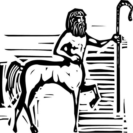 Woodcut style image of a Greek mythical centaur with a Shepherd