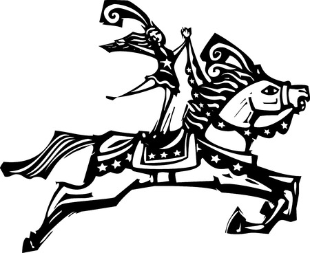 Woodcut style expressionist image of a Circus performer riding a horse. Illustration