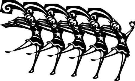 Woodcut style image of women in a Vegas style chorus line