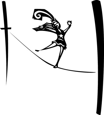 Woodcut style image of a circus performer walking a tightrope.