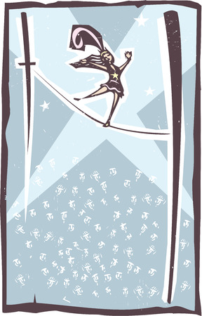 junkie: Woodcut style image of a circus performer walking a tightrope before a crowd Illustration