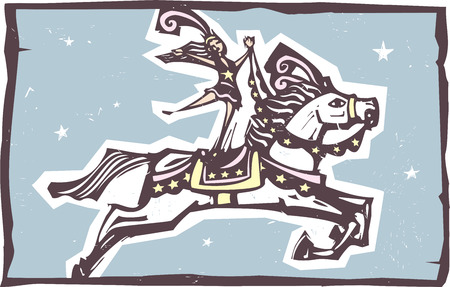 expressionist: Woodcut style expressionist image of a Circus performer riding a leaping horse