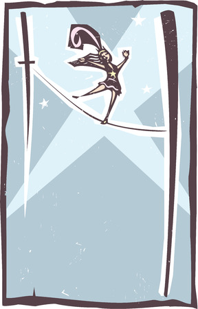 circus performer: Woodcut style image of a circus performer walking a tightrope in a spotlight Illustration