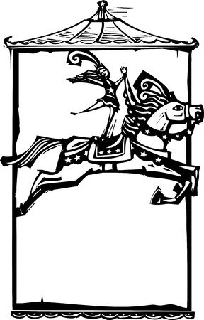 circus performer: Woodcut style expressionist image of a Circus performer riding a horse. Illustration