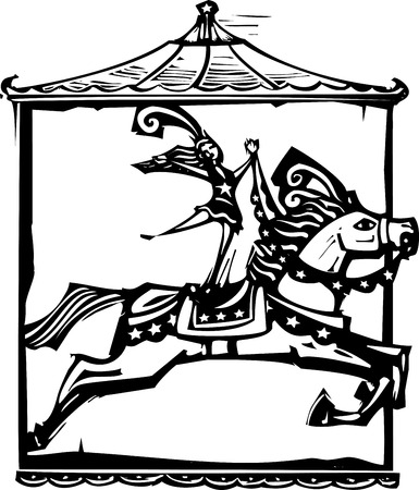 expressionist: Woodcut style expressionist image of a Circus performer riding a horse. Illustration