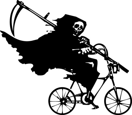 reaper: Woodcut styled image of death as the Grim reaper riding a bicycle.