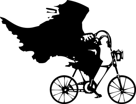 Woodcut styled image of a hooded wraith or death riding a bicycle.