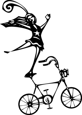 circus performer: Woodcut style image of a circus performer balanced on a bicycle.