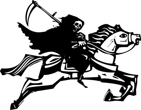 famine: Woodcut style image of death riding a galloping white horse.