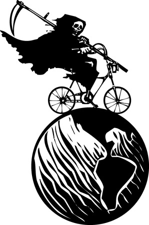 famine: Woodcut styled image of a hooded wraith or death riding a bicycle around the earth