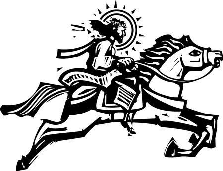 Woodcut Style image of Jesus Christ riding a leaping white horse