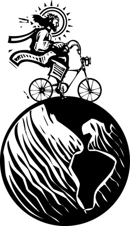 Woodcut Style image of Jesus Christ riding a fixie bicycle traveling the world