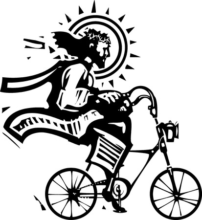 Woodcut Style image of Jesus Christ riding a fixie bicycle