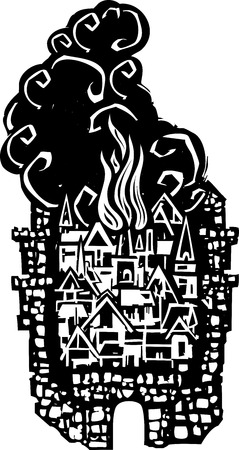 Woodcut style walled Medieval city on fire