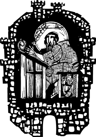 scribe: Woodcut style monk transcribing scripture in a walled monastery