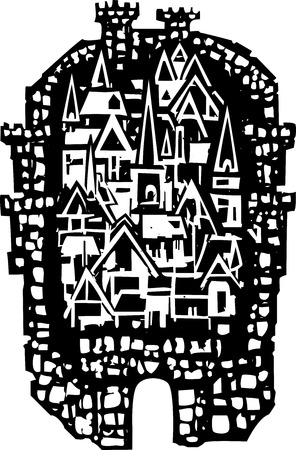 walled: Woodcut style walled Medieval city with tower buildings