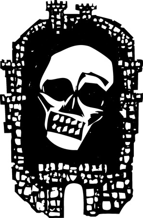 Woodcut style walled Medieval city with a plague skull