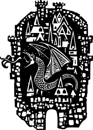 walled: Woodcut style walled Medieval city with a dragon Illustration