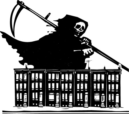 baltimore: Woodcut style image of death with a scythe over Baltimore row homes.