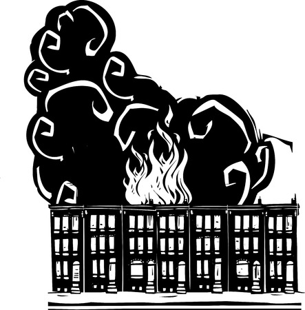 vacant: Woodcut style image of a burning Baltimore Row home.