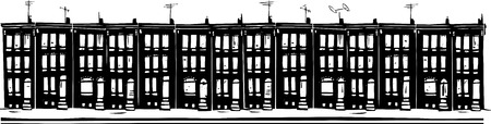 row houses: Woodcut style image of Baltimore urban ghetto row homes. Illustration