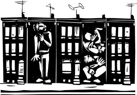 ghetto: Immagine di stile xilografia di persone inscatolato in urbani case fila ghetto.