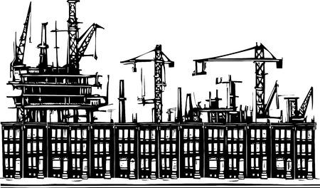 ghetto: Immagine di stile xilografia di un industriale case fila ghetto urbano. Vettoriali