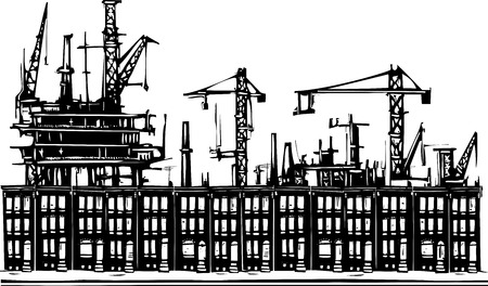 row houses: Woodcut style image of an industrial urban ghetto row homes. Illustration