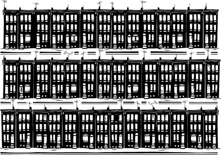 homes: Woodcut style image of Baltimore urban ghetto row homes. Illustration