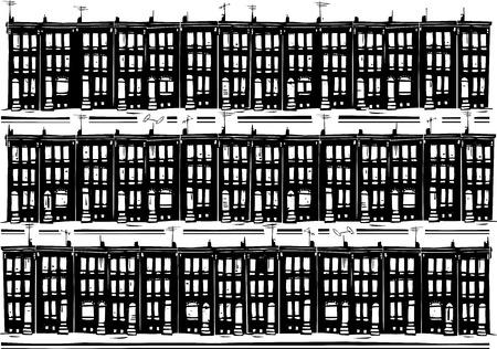 ghetto: Woodcut style image of Baltimore urban ghetto row homes. Stock Photo